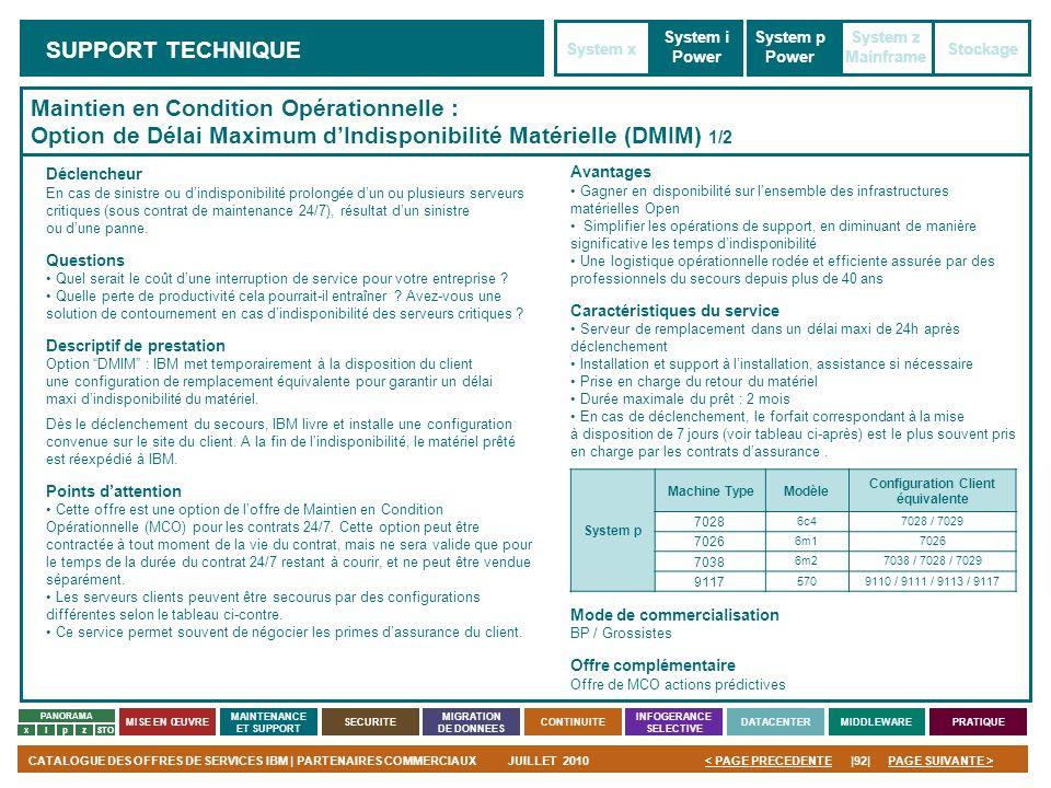PAGE SUIVANTE >CATALOGUE DES OFFRES DE SERVICES IBM | PARTENAIRES COMMERCIAUXJUILLET 2010|92|< PAGE PRECEDENTE PANORAMA MISE EN ŒUVRE MAINTENANCE ET S