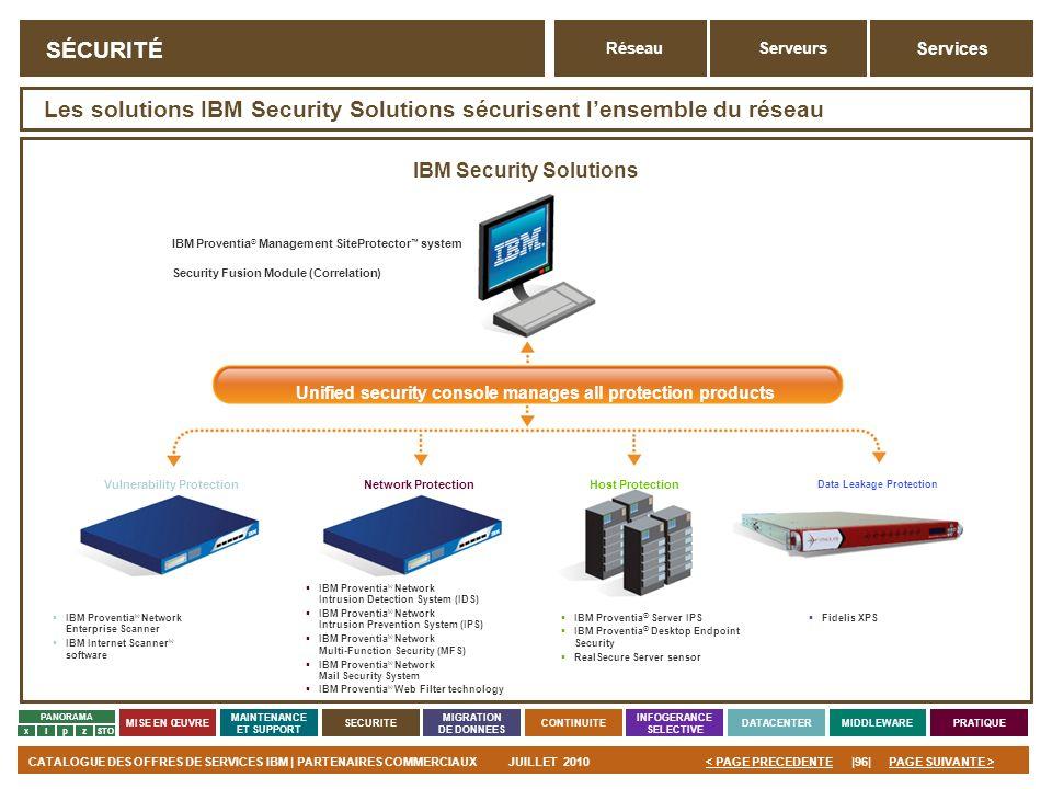 PAGE SUIVANTE >CATALOGUE DES OFFRES DE SERVICES IBM | PARTENAIRES COMMERCIAUXJUILLET 2010|96|< PAGE PRECEDENTE PANORAMA MISE EN ŒUVRE MAINTENANCE ET S