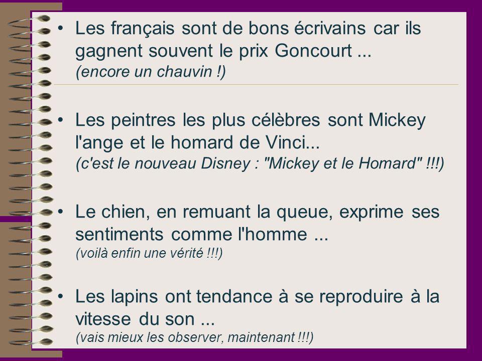 Les français sont de bons écrivains car ils gagnent souvent le prix Goncourt... (encore un chauvin !) Les peintres les plus célèbres sont Mickey l'ang