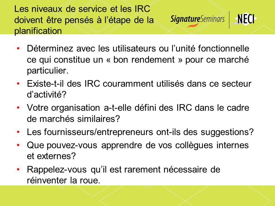 Les niveaux de service et les IRC doivent être pensés à létape de la planification Déterminez avec les utilisateurs ou lunité fonctionnelle ce qui con