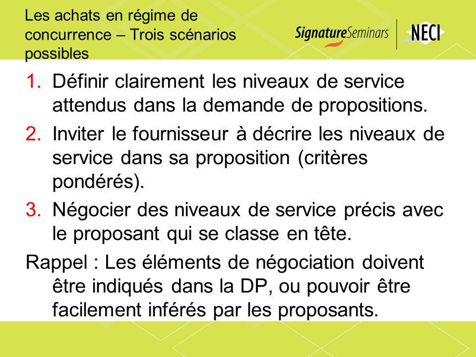 Les achats en régime de concurrence – Trois scénarios possibles 1.Définir clairement les niveaux de service attendus dans la demande de propositions.