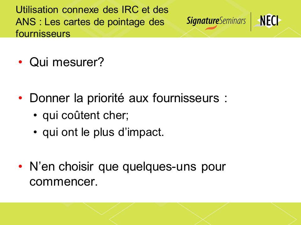Utilisation connexe des IRC et des ANS : Les cartes de pointage des fournisseurs Qui mesurer? Donner la priorité aux fournisseurs : qui coûtent cher;