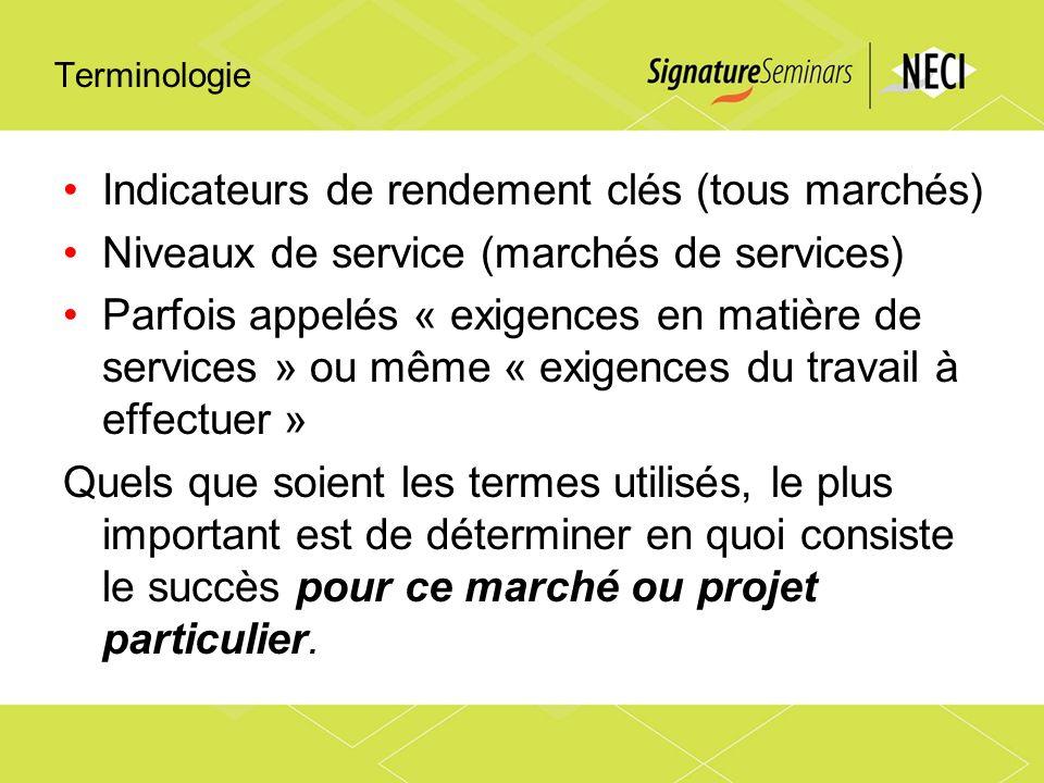 Terminologie Indicateurs de rendement clés (tous marchés) Niveaux de service (marchés de services) Parfois appelés « exigences en matière de services