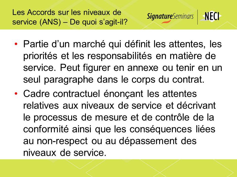 Les Accords sur les niveaux de service (ANS) – De quoi sagit-il? Partie dun marché qui définit les attentes, les priorités et les responsabilités en m