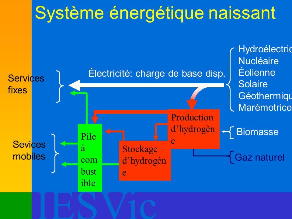 IESVic Système énergétique naissant Services fixes Électricité: charge de base disp. Hydroélectrique Nucléaire Éolienne Solaire Géothermique Marémotri
