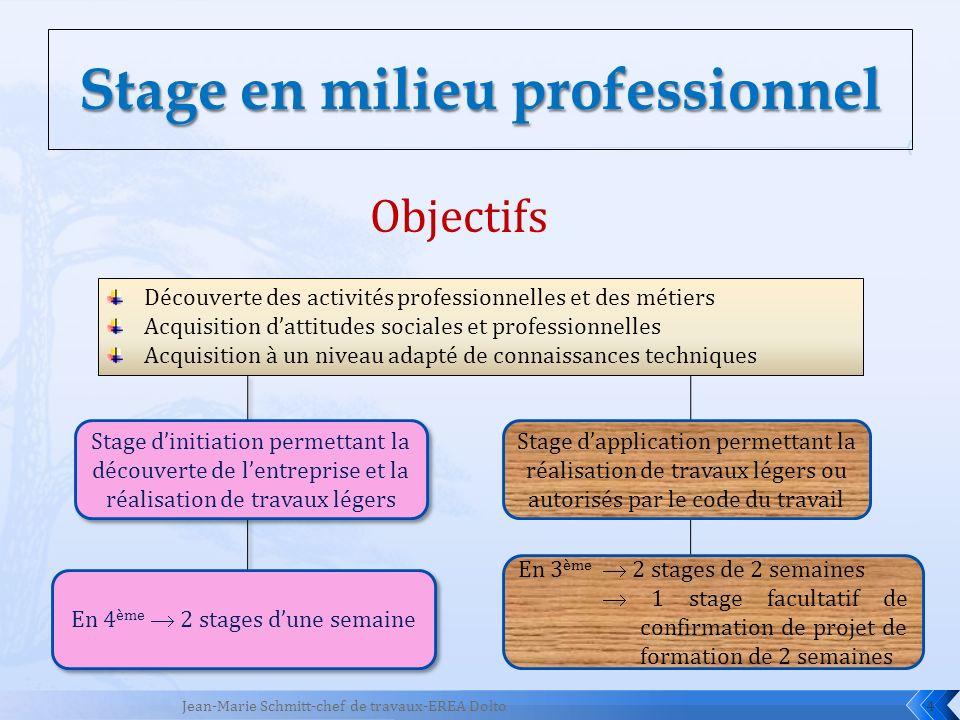 4 Objectifs Stage dapplication permettant la réalisation de travaux légers ou autorisés par le code du travail En 3 ème 2 stages de 2 semaines 1 stage