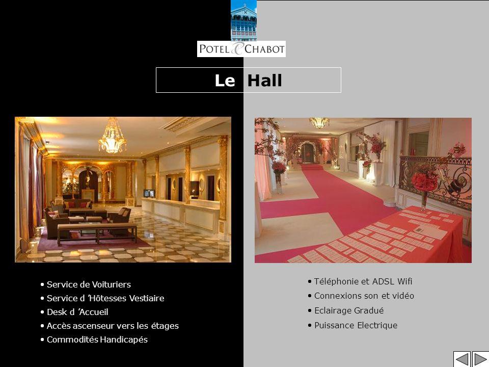 Le Hall Téléphonie et ADSL Wifi Connexions son et vidéo Eclairage Gradué Puissance Electrique Service de Voituriers Service d Hôtesses Vestiaire Desk d Accueil Accès ascenseur vers les étages Commodités Handicapés