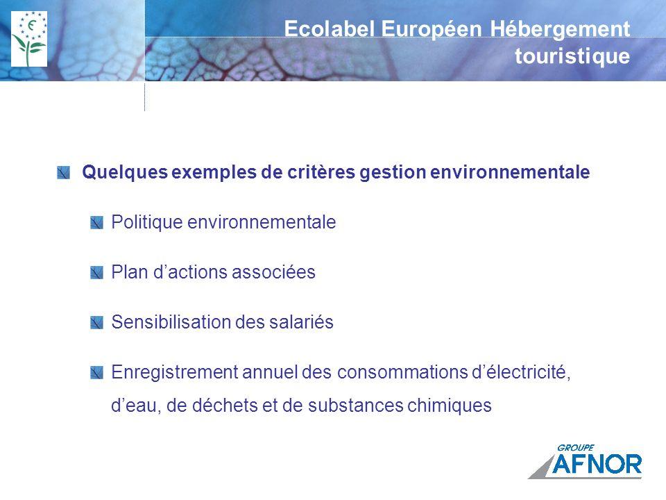 Quelques exemples de critères gestion environnementale Politique environnementale Plan dactions associées Sensibilisation des salariés Enregistrement annuel des consommations délectricité, deau, de déchets et de substances chimiques Ecolabel Européen Hébergement touristique