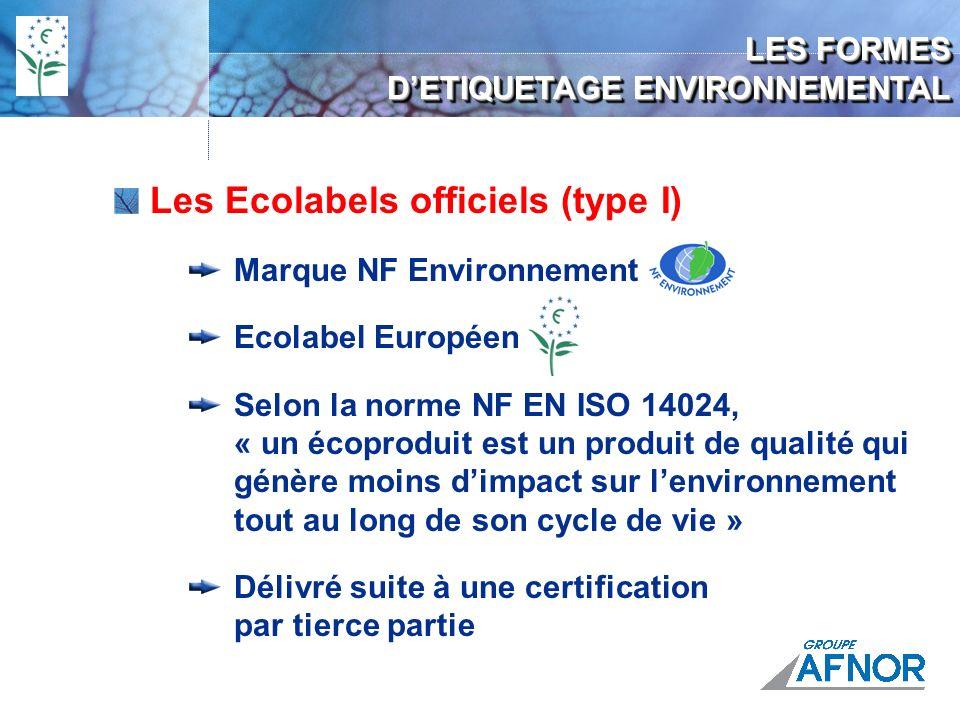 LES FORMES DETIQUETAGE ENVIRONNEMENTAL Les Ecolabels officiels (type I) Marque NF Environnement Ecolabel Européen Selon la norme NF EN ISO 14024, « un écoproduit est un produit de qualité qui génère moins dimpact sur lenvironnement tout au long de son cycle de vie » Délivré suite à une certification par tierce partie
