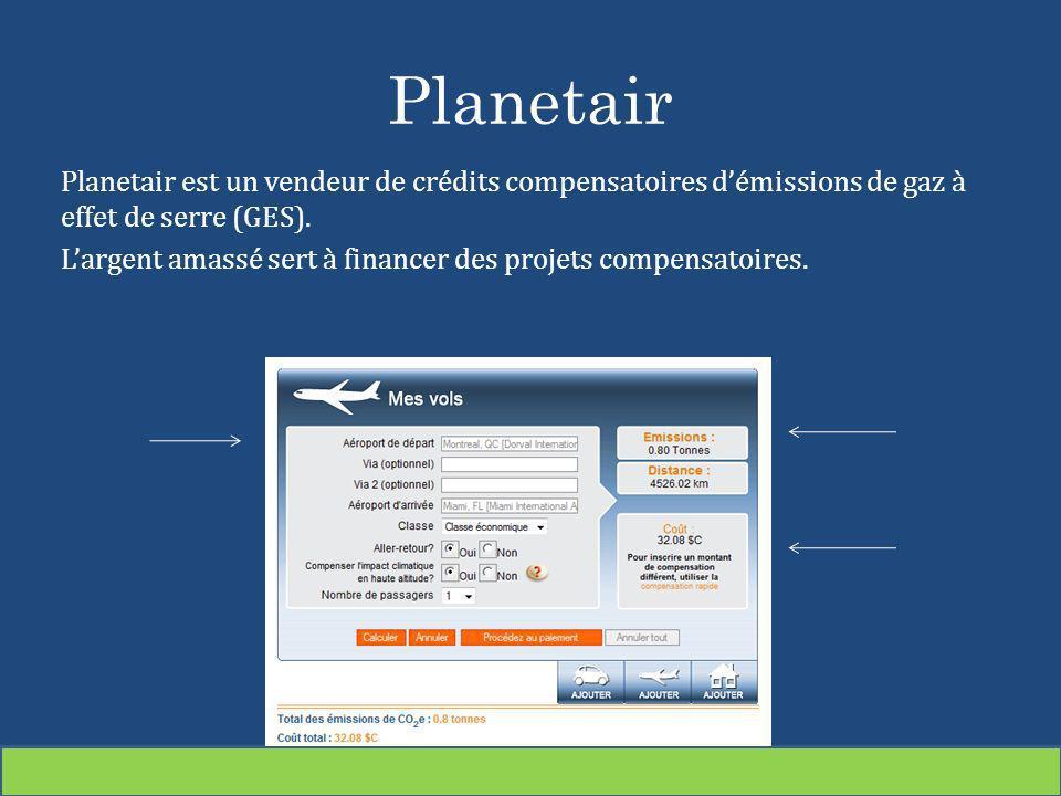 Planetair Planetair est un vendeur de crédits compensatoires démissions de gaz à effet de serre (GES). Largent amassé sert à financer des projets comp