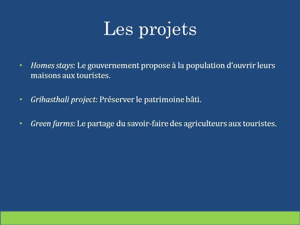 Les projets Homes stays: Le gouvernement propose à la population douvrir leurs maisons aux touristes. Grihasthali project: Préserver le patrimoine bât