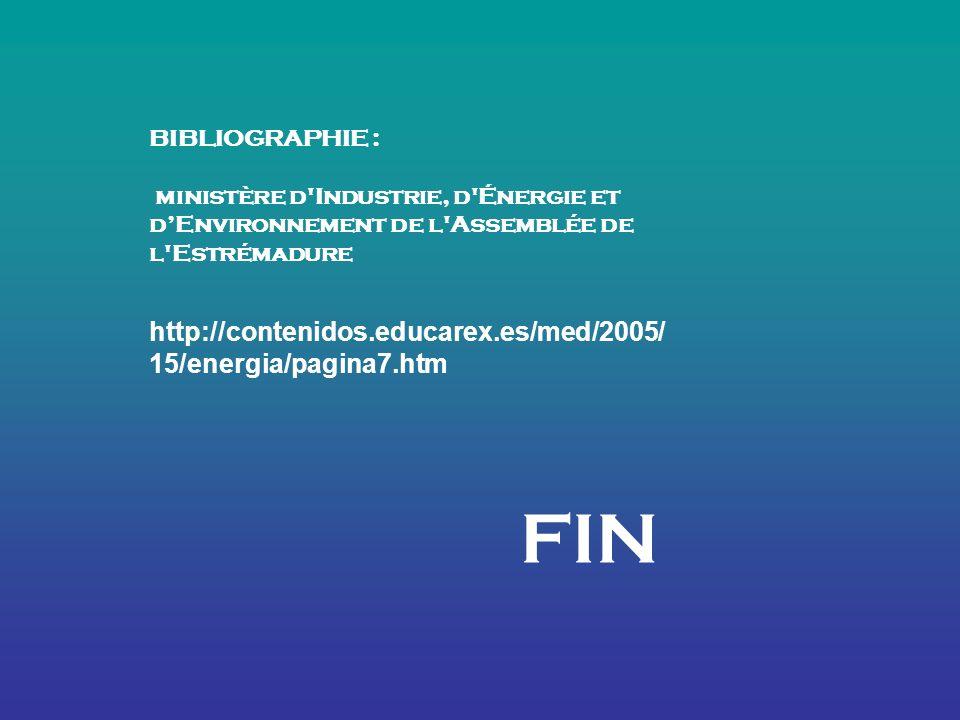 BIBLIOGRAPHIE : ministère d Industrie, d Énergie et dEnvironnement de l Assemblée de l Estrémadure http://contenidos.educarex.es/med/2005/ 15/energia/pagina7.htm FIN