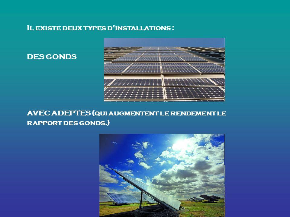 Il existe deux types d installations : DES GONDS AVEC ADEPTES (qui augmentent le rendement le rapport des gonds.)