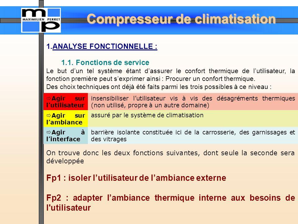 Compresseur de climatisation 1.ANALYSE FONCTIONNELLE : 1.1. Fonctions de service Le but dun tel système étant dassurer le confort thermique de lutilis