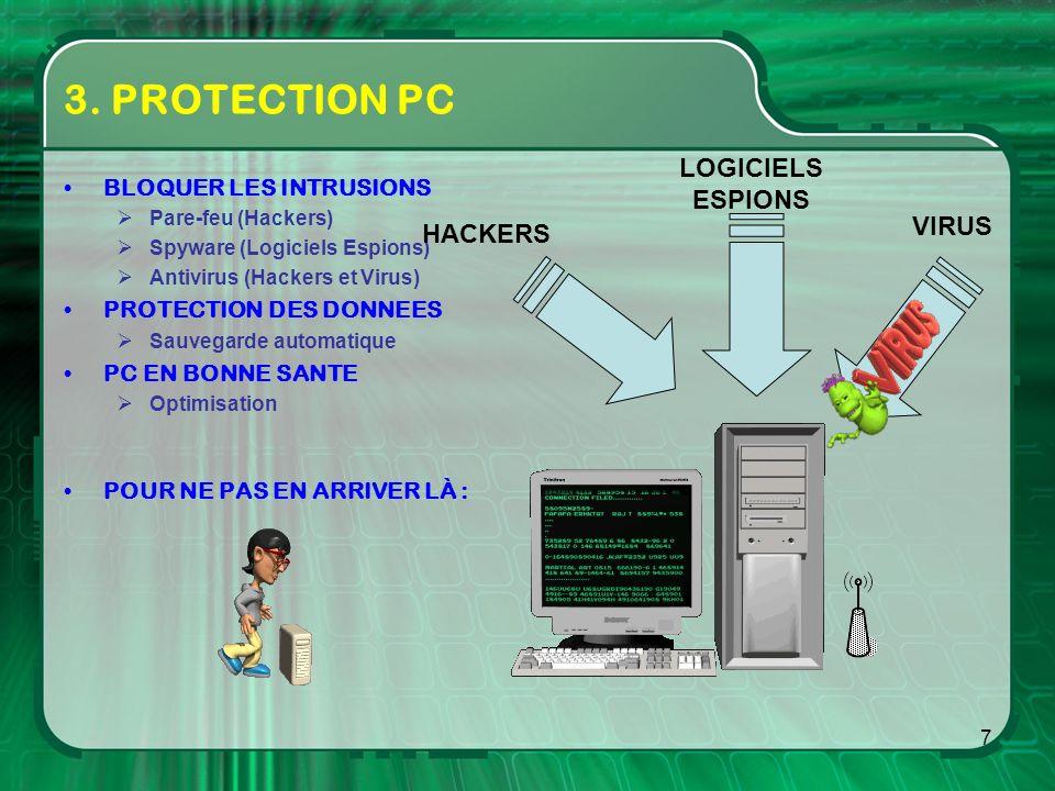7 3. PROTECTION PC BLOQUER LES INTRUSIONS Pare-feu (Hackers) Spyware (Logiciels Espions) Antivirus (Hackers et Virus) PROTECTION DES DONNEES Sauvegard