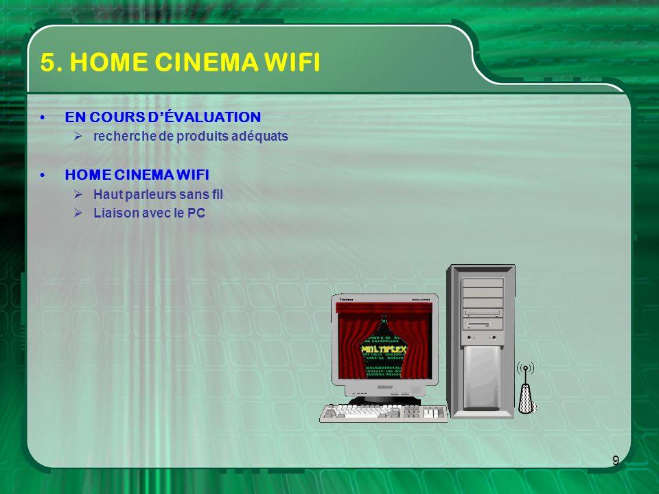 9 5. HOME CINEMA WIFI EN COURS DÉVALUATION recherche de produits adéquats HOME CINEMA WIFI Haut parleurs sans fil Liaison avec le PC