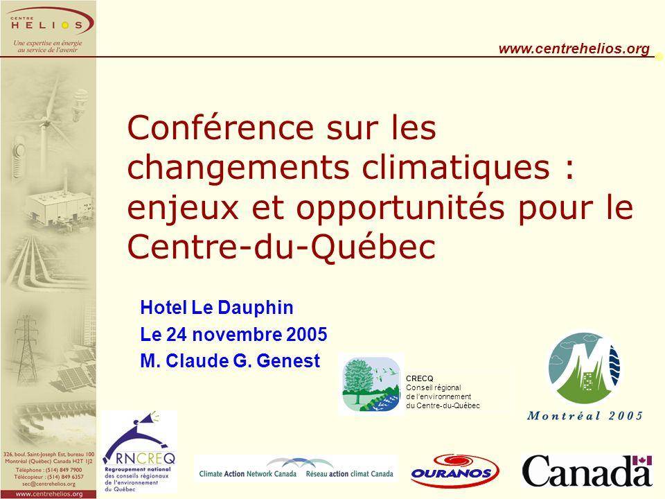 www.centrehelios.org La demande dénergie n Besoin de chauffage moindres en hiver.