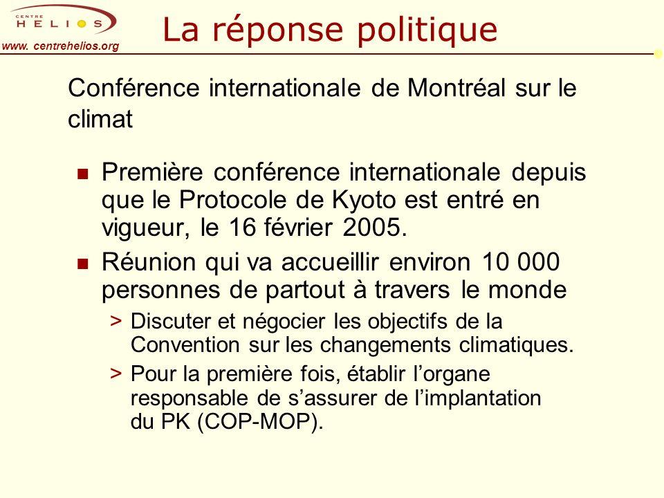 www. centrehelios.org Conférence internationale de Montréal sur le climat n Première conférence internationale depuis que le Protocole de Kyoto est en