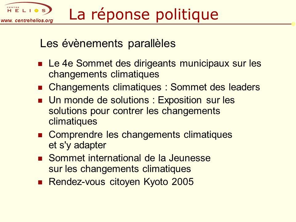 www. centrehelios.org La réponse politique n Le 4e Sommet des dirigeants municipaux sur les changements climatiques n Changements climatiques : Sommet
