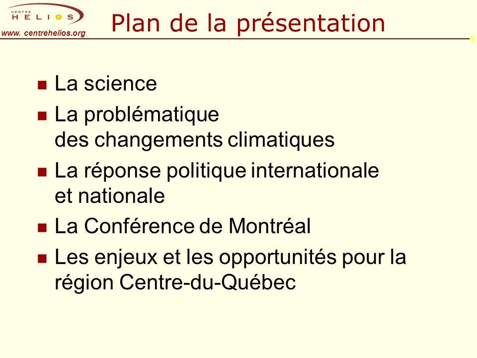 www. centrehelios.org Plan de la présentation n La science n La problématique des changements climatiques n La réponse politique internationale et nat