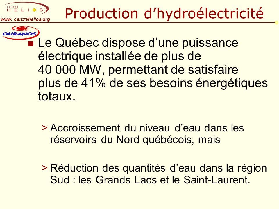 www. centrehelios.org Production dhydroélectricité n Le Québec dispose dune puissance électrique installée de plus de 40 000 MW, permettant de satisfa