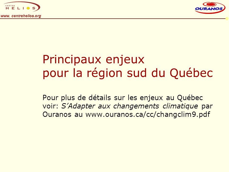 www. centrehelios.org Principaux enjeux pour la région sud du Québec Pour plus de détails sur les enjeux au Québec voir: SAdapter aux changements clim