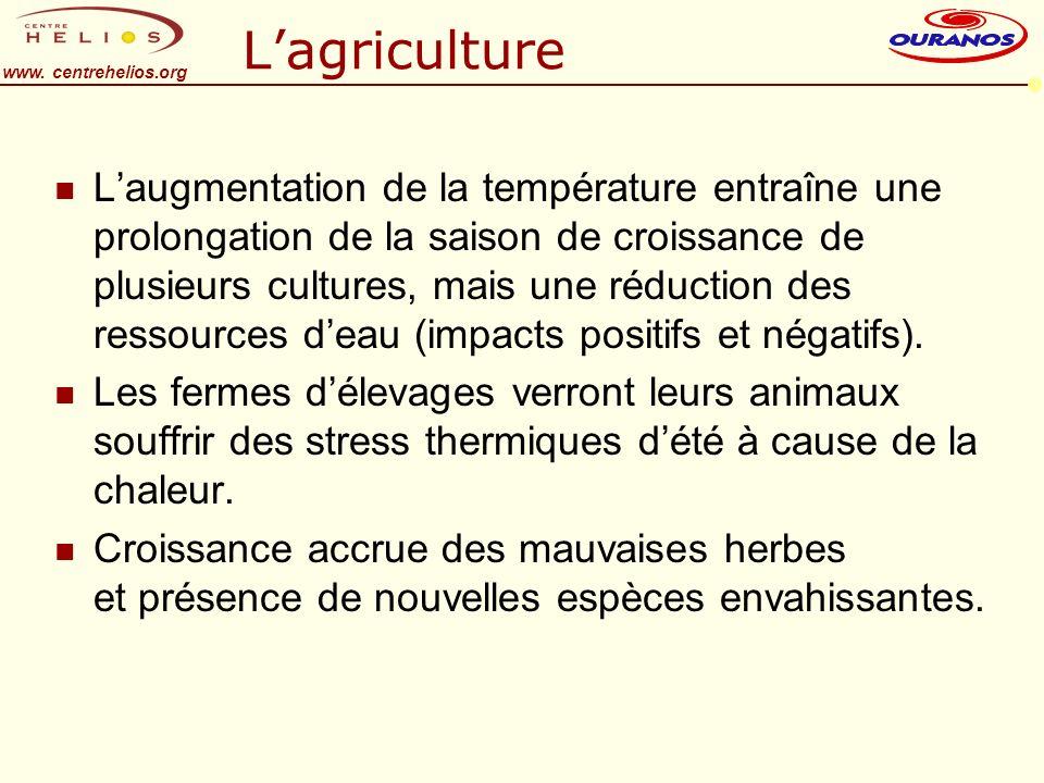 www. centrehelios.org Lagriculture n Laugmentation de la température entraîne une prolongation de la saison de croissance de plusieurs cultures, mais