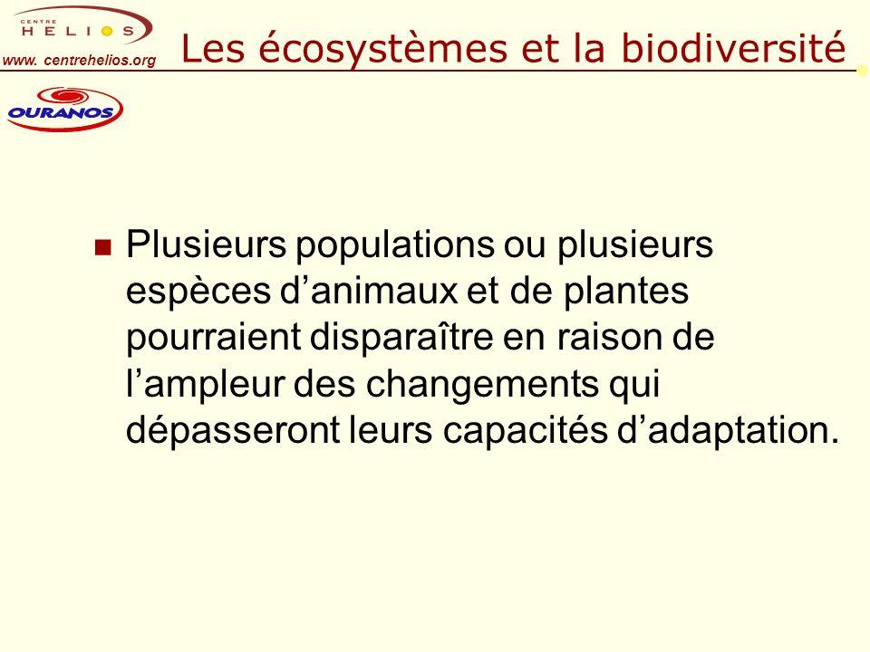 www. centrehelios.org Les écosystèmes et la biodiversité n Plusieurs populations ou plusieurs espèces danimaux et de plantes pourraient disparaître en