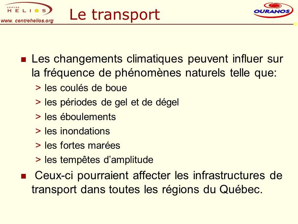 www. centrehelios.org Le transport n Les changements climatiques peuvent influer sur la fréquence de phénomènes naturels telle que: >les coulés de bou