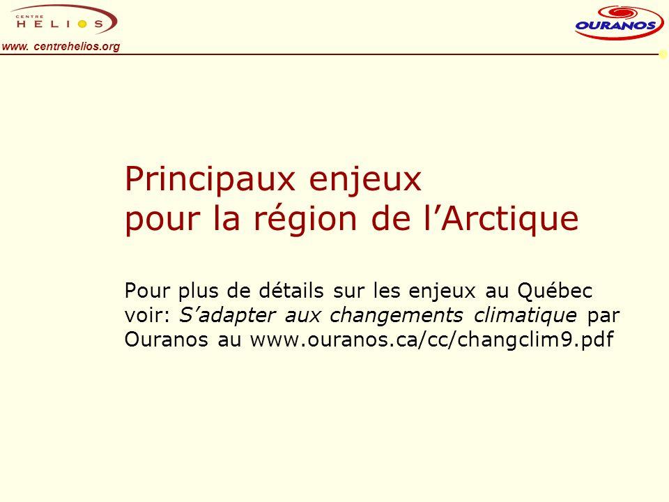 www. centrehelios.org Principaux enjeux pour la région de lArctique Pour plus de détails sur les enjeux au Québec voir: Sadapter aux changements clima