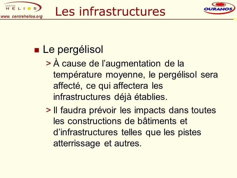 www. centrehelios.org Les infrastructures n Le pergélisol >À cause de laugmentation de la température moyenne, le pergélisol sera affecté, ce qui affe