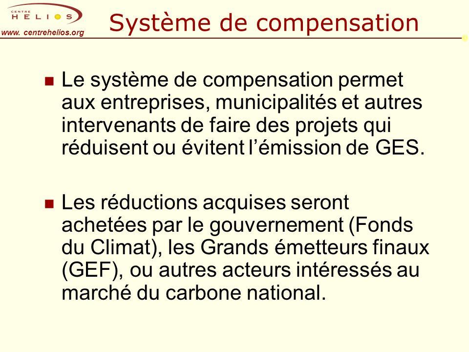www. centrehelios.org Système de compensation n Le système de compensation permet aux entreprises, municipalités et autres intervenants de faire des p