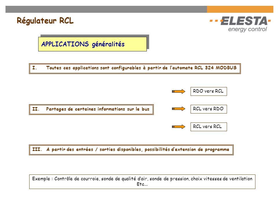 Régulateur RCL Programmes dextensions Suivant les entrées/sorties disponibles sur lautomate, il est possibilité dajouter des fonctions de régulation o