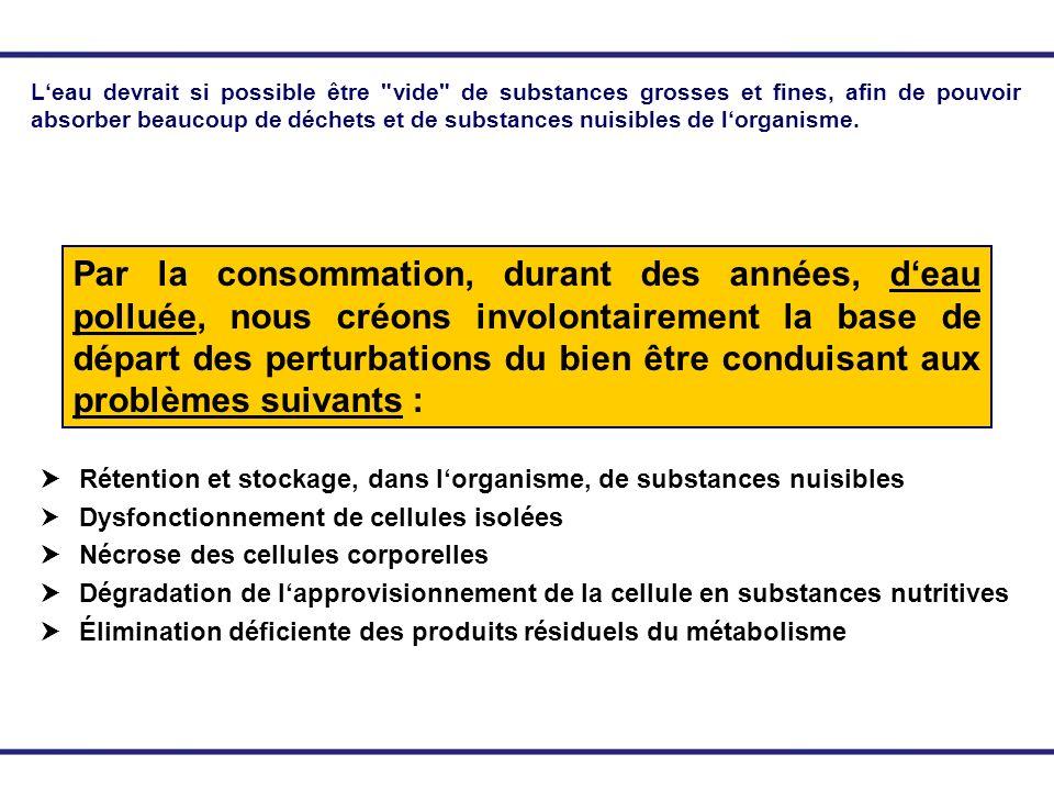 Rétention et stockage, dans lorganisme, de substances nuisibles Dysfonctionnement de cellules isolées Nécrose des cellules corporelles Dégradation de