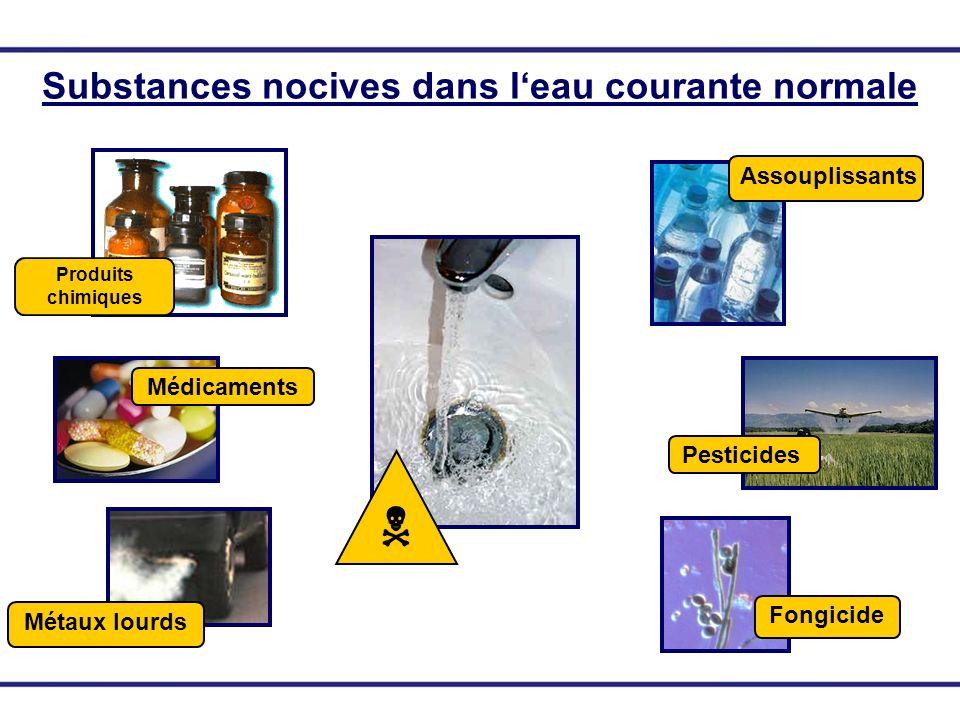 Substances nocives dans leau courante normale Produits chimiques Médicaments Métaux lourds Assouplissants Pesticides Fongicide