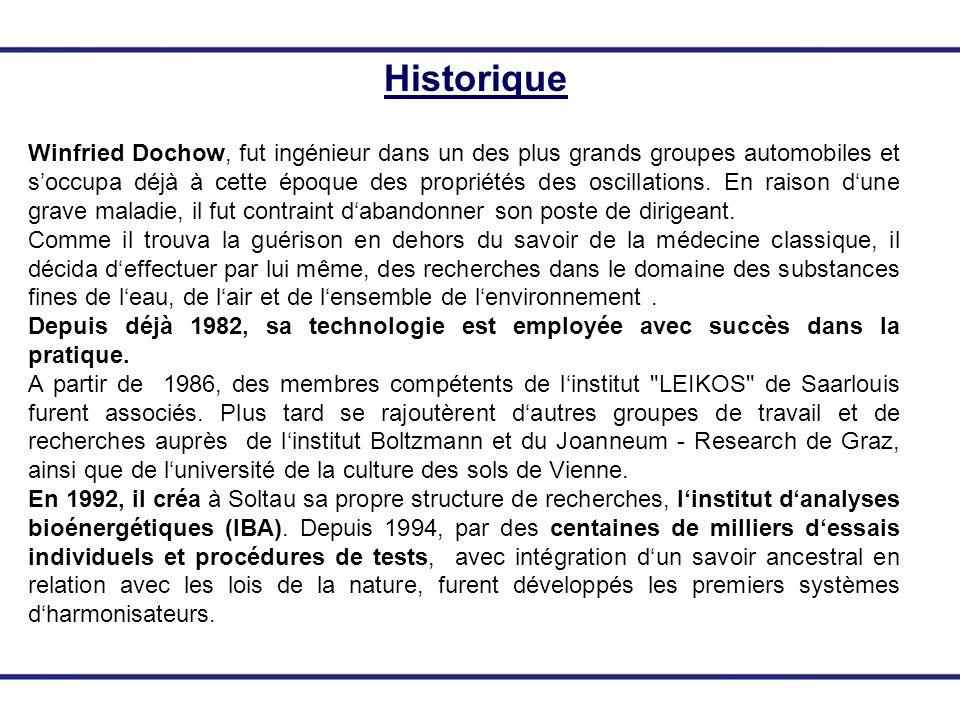 Historique Winfried Dochow, fut ingénieur dans un des plus grands groupes automobiles et soccupa déjà à cette époque des propriétés des oscillations.