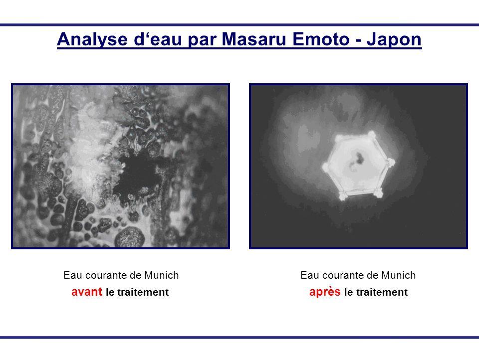 Analyse deau par Masaru Emoto - Japon Eau courante de Munich avant le traitement Eau courante de Munich après le traitement