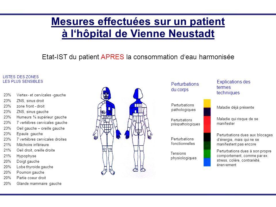 23% Vertex- et cervicales -gauche 23% ZNS, sinus droit 23% zone front - droit 23% ZNS, sinus gauche 23% Humeurs ¾ supérieur gauche 23% 7 vertèbres cer
