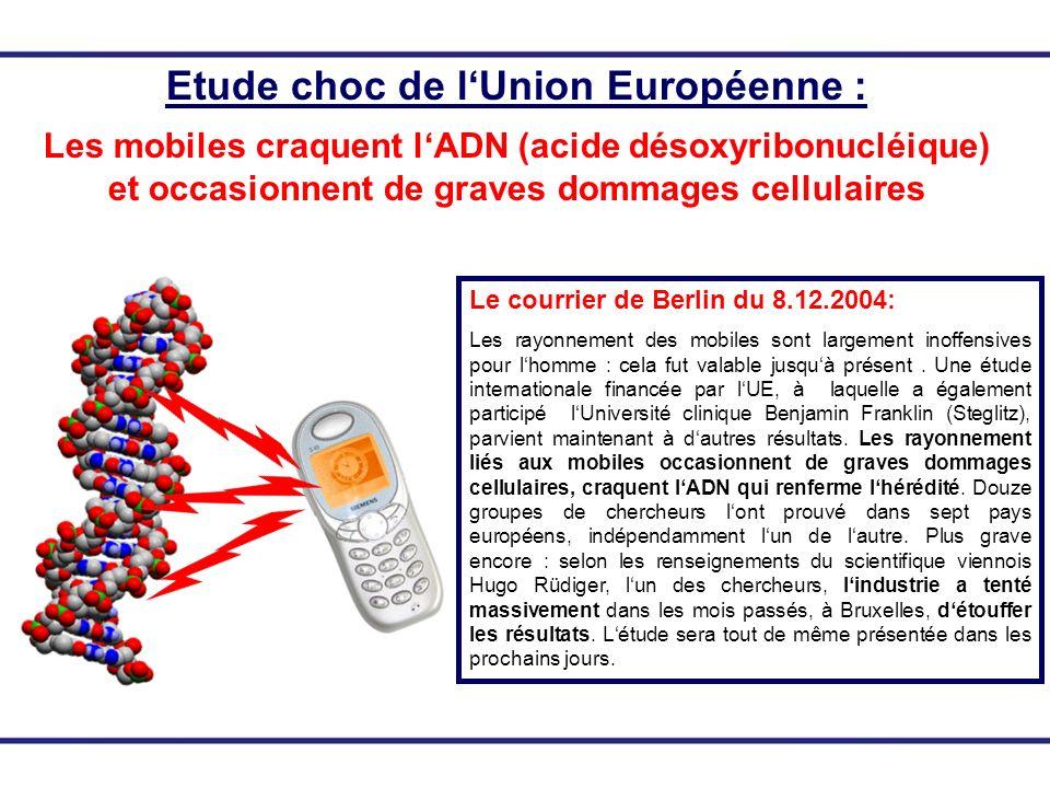 Etude choc de lUnion Européenne : Les mobiles craquent lADN (acide désoxyribonucléique) et occasionnent de graves dommages cellulaires Le courrier de