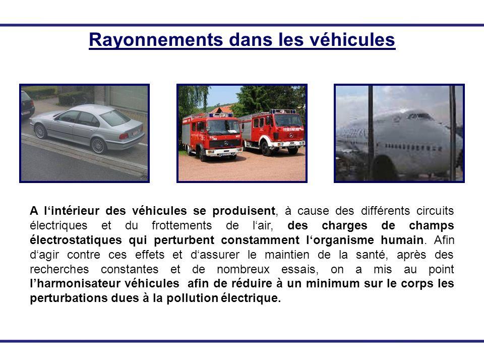 Rayonnements dans les véhicules A lintérieur des véhicules se produisent, à cause des différents circuits électriques et du frottements de lair, des c
