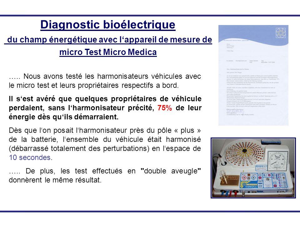 Diagnostic bioélectrique du champ énergétique avec lappareil de mesure de micro Test Micro Medica ….. Nous avons testé les harmonisateurs véhicules av