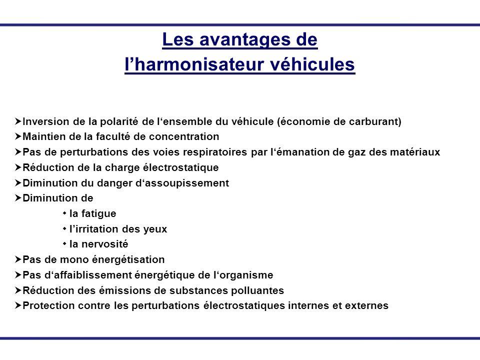Les avantages de lharmonisateur véhicules Inversion de la polarité de lensemble du véhicule (économie de carburant) Maintien de la faculté de concentr