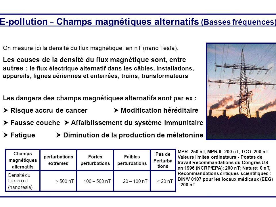 Champs électromagnétiques alternatifs perturbations extrêmes perturbations fortes perturbations faibles pas de Perturbations Tension dantenne en millivolt (mV) > 100 mV10 – 100 mV1 – 10 mV< 1 mV Densité du flux en μW/cm² > 100050 – 10002 – 50< 2 E-pollution – ondes électromagnétiques (hautes fréquences) On mesure ici la tension dantenne de haute fréquence (mV) et la densité de la radiation (μW/cm²) et les fréquences des informations, modulations, signaux et cadences de la téléphonie mobile sont définis.