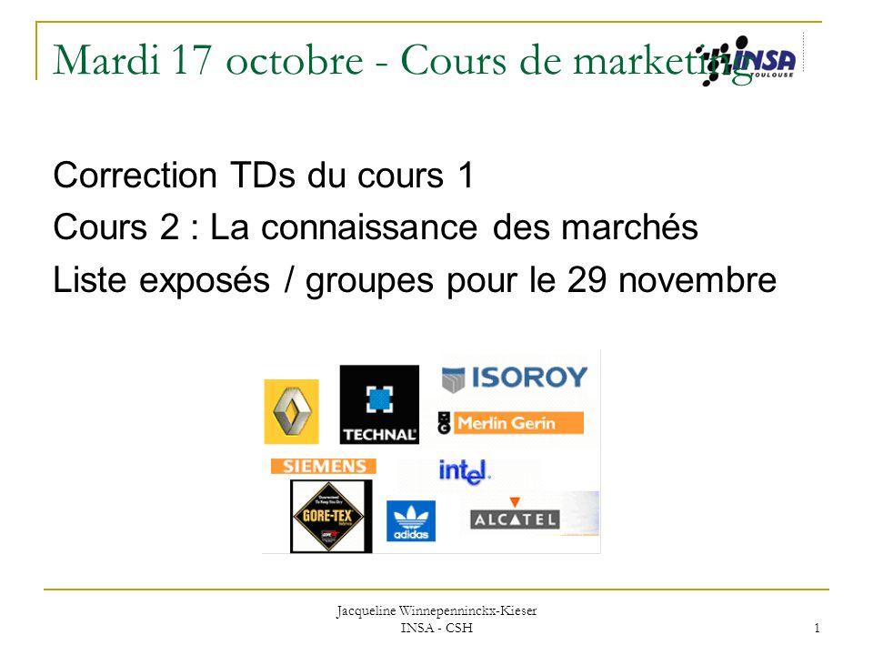 Jacqueline Winnepenninckx-Kieser INSA - CSH 1 Mardi 17 octobre - Cours de marketing Correction TDs du cours 1 Cours 2 : La connaissance des marchés Li