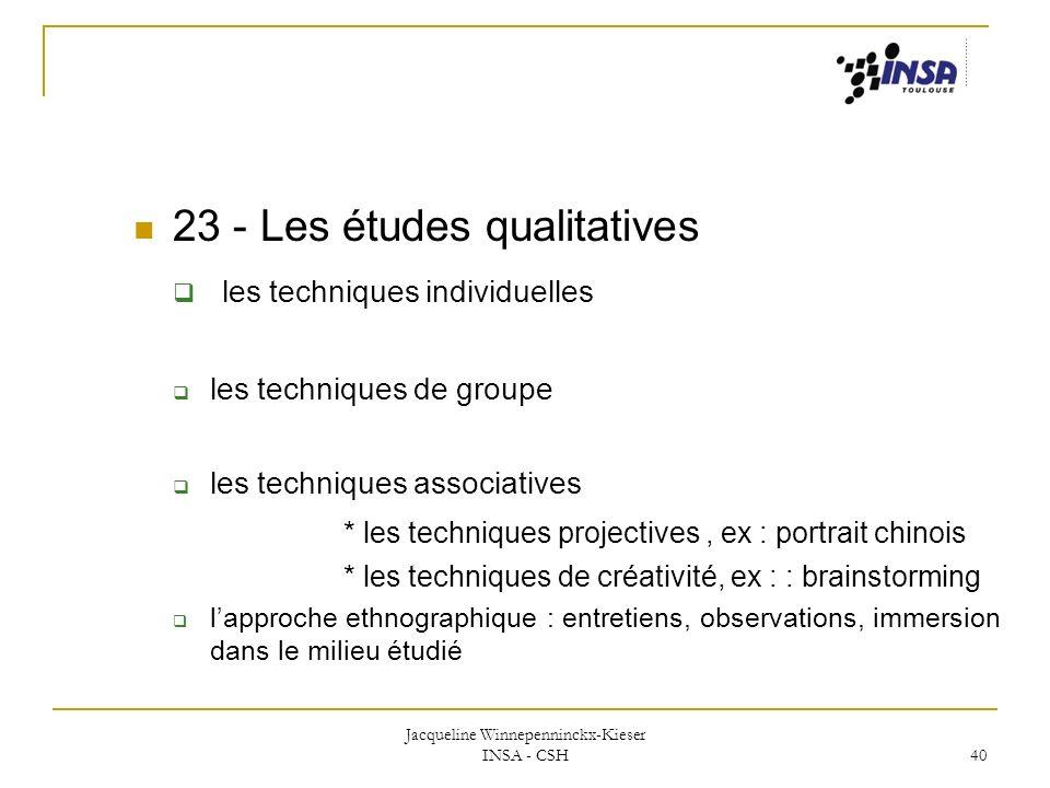 Jacqueline Winnepenninckx-Kieser INSA - CSH 40 23 - Les études qualitatives les techniques individuelles les techniques de groupe les techniques assoc