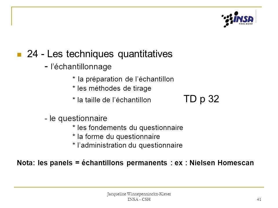 Jacqueline Winnepenninckx-Kieser INSA - CSH 41 24 - Les techniques quantitatives - léchantillonnage * la préparation de léchantillon * les méthodes de