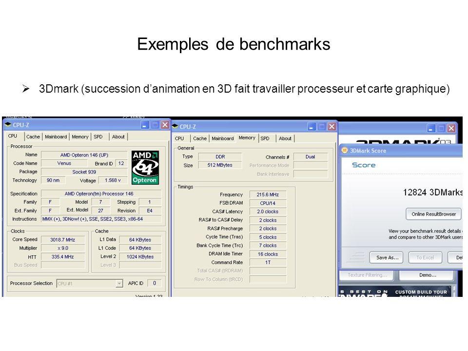 Exemples de benchmarks 3Dmark (succession danimation en 3D fait travailler processeur et carte graphique)