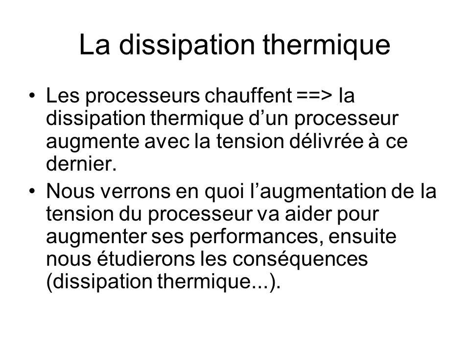 La dissipation thermique Les processeurs chauffent ==> la dissipation thermique dun processeur augmente avec la tension délivrée à ce dernier. Nous ve