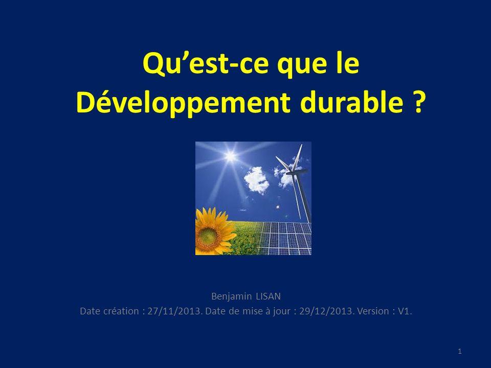 41 Quest-ce que le développement durable .4. Prises de conscience : 4.2.
