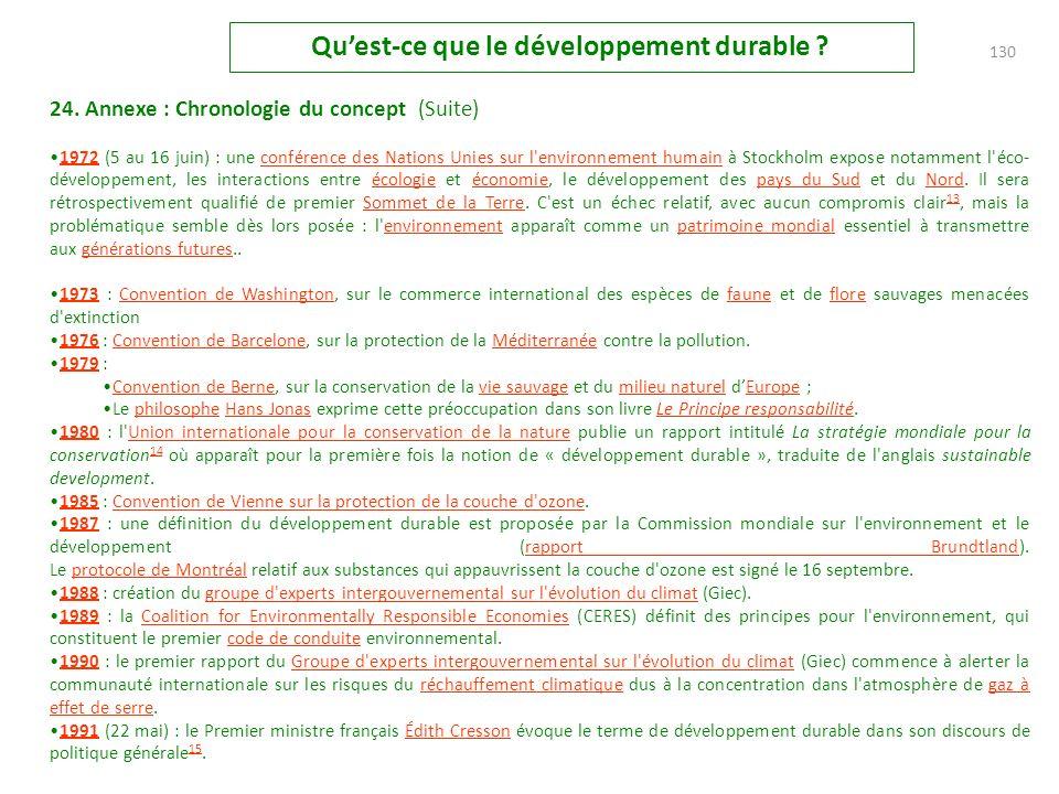24. Annexe : Chronologie du concept L'émergence du concept de développement durable remonte au début du xx e. L'idée d'un développement pouvant à la f